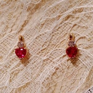 10k Gold Pierced Lab Created Ruby Earrings